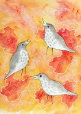 """Thrushes II"" $200 Watercolor, ink and rice paper on Arches 140 Cold Press. 11x14 matted and framed."