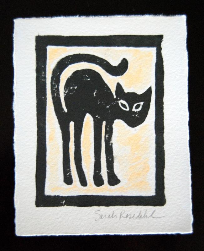 """Cat"""" 4×55 Hand Printed Block Print"""