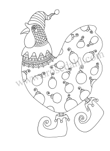 Christmas Elf Chicken Coloring - URL